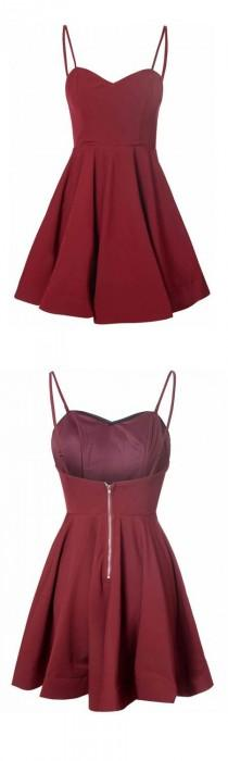 wedding photo - Simple A-Line Spaghetti Straps Satin Burgundy Short Homecoming Dress With Pleats