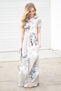 wedding photo - Ann Floral Maxi Dress In Taupe
