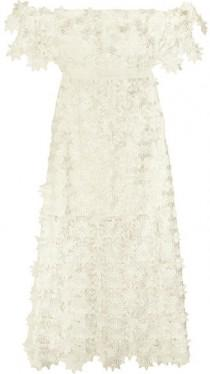 wedding photo - Self-Portrait - Off-the-shoulder Guipure Lace Midi Dress - White