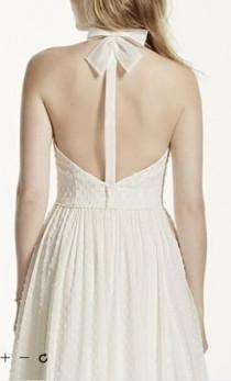 wedding photo - Galina Dotted Chiffon A Line Dress With Halter Neckline, $450 Size: 8
