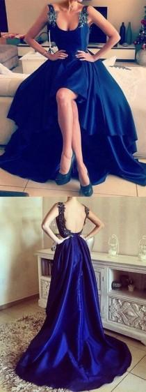 wedding photo - Asymmetrical Appliques Lace High Low Backless Prom Dresses, Royal Blue Prom Dress, High Low Prom Dress, Backless Prom Dress, Sexy Prom Dress