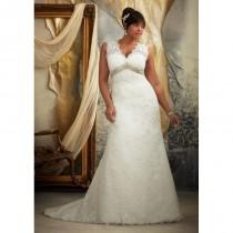wedding photo - Plus Size Lace A-Line V-Neck Sweep Train Wedding Dress With Beading - dressosity.com