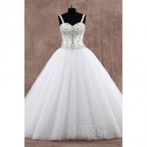 wedding photo - Modern Princess Straps Train Tulle Sleeveless Wedding Dress with Beading - Top Designer Wedding Online-Shop