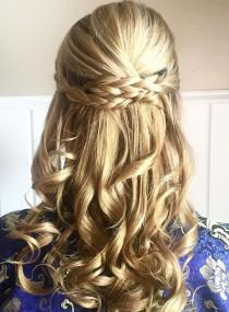 wedding photo - Prettiest Braids And Waves Half Up Half Down Hairstyle For Romantic Brides