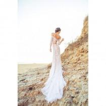 wedding photo - Long Sleeve Wedding Dress with Off-the-Shoulder Crop Top, Keyhole Tie Back, and Cascading Chiffon Train - Lennox Dress - Hand-made Beautiful Dresses