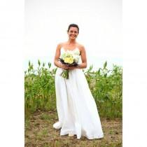 wedding photo - Sweep Train Simple White Aline Spaghetti Straps Satin Sleeveless Fall Outdoor Covered Button Wedding Dress - dressosity.com