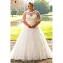 wedding photo - Plus-Size Dresses Style BB17504 by BB  by Special Day - Ivory  White Lace  Satin  Tulle Cover-up Floor Wedding Dresses - Bridesmaid Dress Online Shop