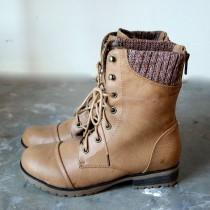wedding photo - In The Woods Ankle Sweater Boots Tan