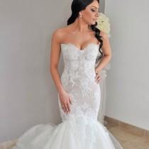wedding photo - Balık, Dantelli Ve M Yaka Gelinlik Modeli M-1415
