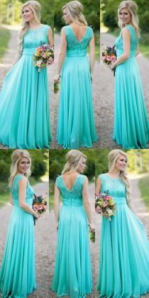 wedding photo - Modest Scoop A-line Long Blue Bridesmaid Dress