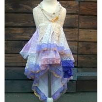 wedding photo - Girls size 5-6. Pink purple beige bohemian flower girl. Mori Girl dress with loads of lace. Rustic flower girl. - Hand-made Beautiful Dresses