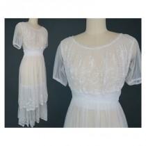 wedding photo - Edwardian Net Lace Tea Dress / Vintage Wedding Dress - Hand-made Beautiful Dresses