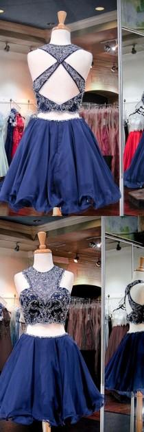wedding photo - Two Piece Jewel Open Back Short Navy Blue Tulle Homecoming Dress With Beading