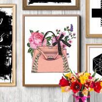 wedding photo - Fashion bag, Fashion bag print, Fashion illustration, Pink bag print, Fendi, Fendi bag,Fendi peekaboo, Fendi illustration,Roses illustration