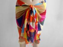 wedding photo - Rainbow Sarong, Bikini skirt, Swimsuit coverup, Beach cover up, Pareo sarong wrap, Summer scarf, Rainbow Pareo, Cotton Sarong, Pool Cover