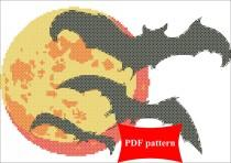 wedding photo - Bats and moon. Modern Counted Cross Stitch Pattern PDF Instant Download. Stitch design, Embroidery, Halloween, craft store, batmen