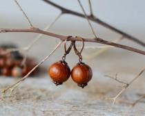 wedding photo - Wooden earrings wooden handmade wooden jewelry earrings boho wooden bead earring gift for her brown earring wooden beaded earring