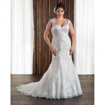 wedding photo - Bonny Bridal 2017 1712 Plus Size Chapel Train Ivory Sleeveless Sweetheart Sheath Tulle Appliques Lace Up Wedding Gown - Charming Wedding Party Dresses