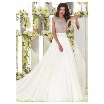 wedding photo - Junoesque Taffeta Scoop Neckline See-through A-line Wedding Dresses With Beaded Embroidery - overpinks.com