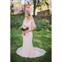 wedding photo - Sweep Train Elegant Trumpet Cap Sleeves Beading Ivory Lace Zipper Up V-Neck Garden Spring Bridal Gown - dressosity.com