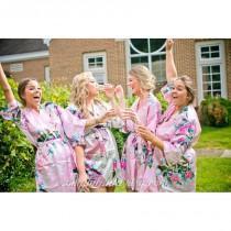 wedding photo - SALE! Bridesmaid Gift, Bridesmaid Robe, Satin Kimono, Bridesmaids Party Robes, Bridal Shower Robe, Fast Shipping from New York - Hand-made Beautiful Dresses