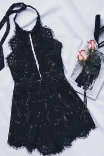 wedding photo - Emergent Blooms Black Lace Romper