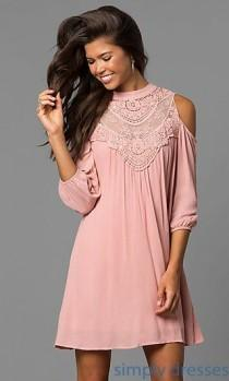 wedding photo - AS-i448265e4 - Cold-Shoulder Short Shift Dress With Long Sleeves