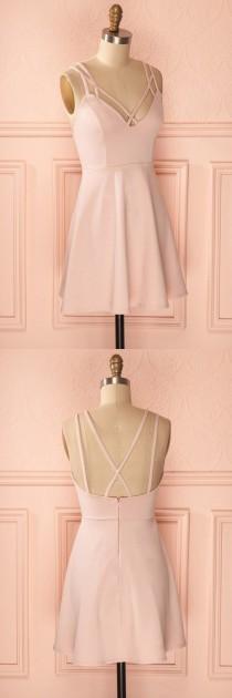 wedding photo - A-Line Straps Criss-Cross Straps Short Pink Satin Homecoming Dress