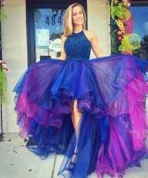 wedding photo - Beaded High Low Prom Dress,Halter Prom Dress,Custom Made Evening Dress,Double Colors Homecoming Dress