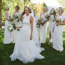 wedding photo - Charming Simple Cheap Open Back Affordable Long Wedding Brides Dresses, WG653