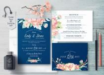 wedding photo - Coral And Navy Wedding, Coral Wedding Invitations, Navy And Peach Invitation, Printable, Floral