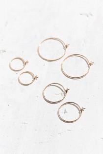 wedding photo - Brass Wire Hoop Earring Set