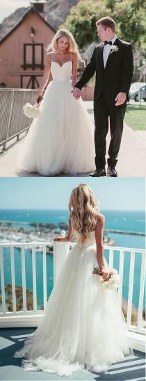 wedding photo - Pretty Wedding Dresses,Spaghetti Straps A-line Tulle Ivory Wedding Dresses,Summer Wedding Dresses,Beach Wedding Dresses,2018 Bridal Gown From SIMIBRIDALDRESS