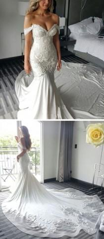 wedding photo - Off The Shoulder Mermaid Sweetheart Charming Long Bride Wedding Dress, BG51617 - US0 / Picture Color