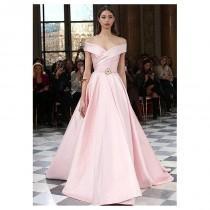 wedding photo - Elegant Satin Off-the-shoulder A-Line Prom Dresses With Belt - overpinks.com