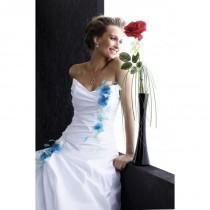 wedding photo - Pia Benelli Prestige, Pomette blanc et turquoise - Superbes robes de mariée pas cher