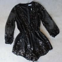wedding photo - Reverse - Life Of The Party Black Sequin Romper