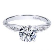 wedding photo - 14K White Gold .85cttw Bead Set Pinched Round Diamond Engagement Ring