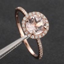 wedding photo - 7mm Morganite .27ct Pave Diamond Solid 14K Rose Gold Engagement Ring