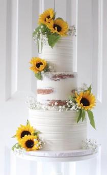 wedding photo - Half Naked Sunflower Cake