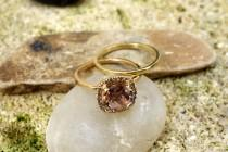 wedding photo - UNIQUE VINTAGE Style Morganite Engagement Ring in Gold Diamond Wedding Band fine jewelry Halo diamond ring Gemstone Unusual engagement ring