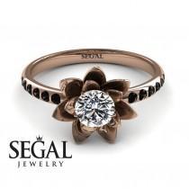wedding photo - 14k Rose Gold Engagement Ring Solitaire engagement ring Rose Gold Diamond Ring Lotus Flower Ring Rose gold Engagement Ring - Lotus