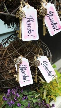 wedding photo - 50 Key Bottle Openers With Tags & Twine - Antique Gold Vintage Skeleton Keys