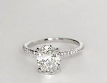 wedding photo - 1.24ct I-SI1 Oval Diamond Engagement Ring GIA Certified Diamonds JEWELFORME BLUE