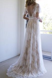 wedding photo - Romantic A-line White Lace Long Wedding Dress With Open Back WD111