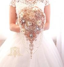 wedding photo - Rose gold BROOCH BOUQUET.  blush, cream, champagne, ivory colours. Wedding bridal teardrop cascading bouquet.