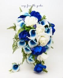 wedding photo - Cascade Bridal Bouquet Blue Picasso Callas Real Touch White Royal Blue Roses, Blue Rhinestones - Customize for your Colors