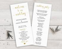 wedding photo - Gold Wedding Program Template, Order of Ceremony Printable, Wedding Ceremony Program Gold, DIY Wedding Program Calligraphy, Wedding Party