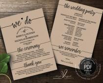 wedding photo - Wedding Program PDF card template, instant download editable printable, Ceremony order card in rustic calligraphy theme (TED410_2)