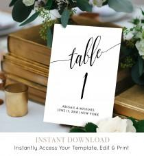 wedding photo - Wedding Table Number Card Template, Calligraphy, Editable, Printable, Instant Download, DIY Table Seating Card, 4x4 and 5x7, #020-112TC